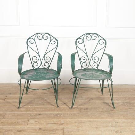 Pair of French Iron Garden Armchairs DA1516531