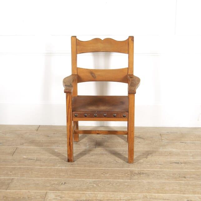 English Pine and Leather Armchair DA2914858