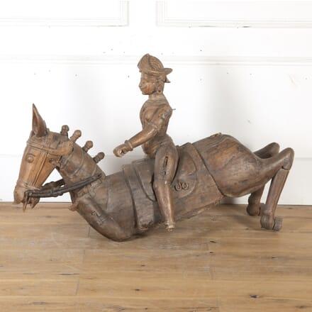 Rajasthani Carved Hardwood Mounted Warrior DA8015113
