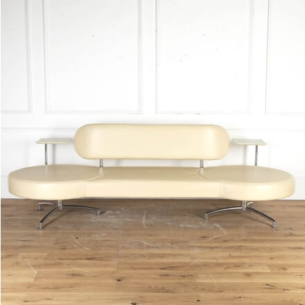 Italian Modernist Cream Leather Sofa SB8715349