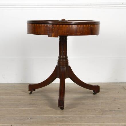 Mid 19th Century Mahogany Inlaid Drum Table TC8817366