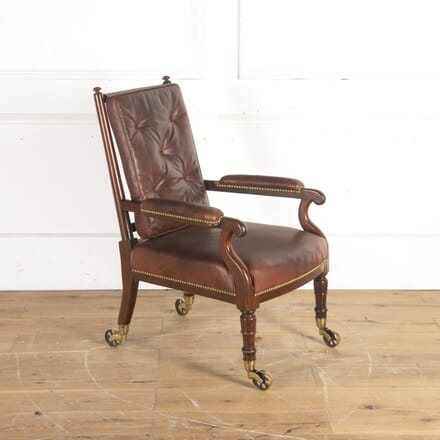 Regency Mahogany and Leather Library Chair CH8213809