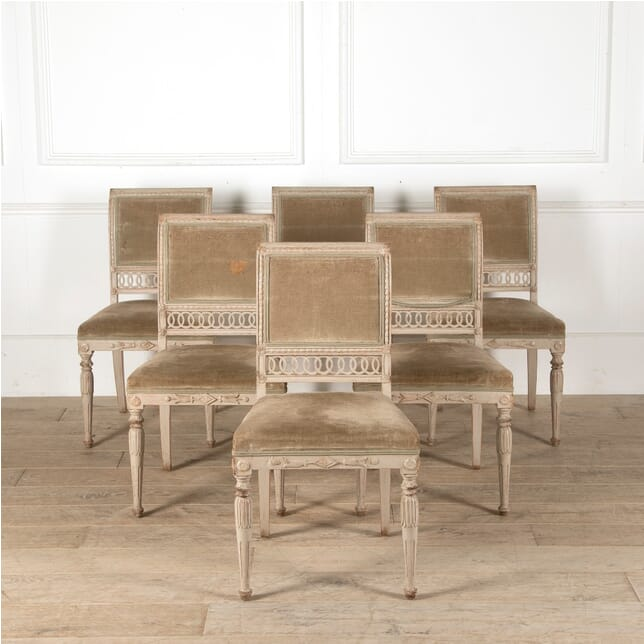 Set of 6 Late Gustavian Painted Dining Chairs CD9911356