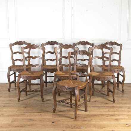 Set of Eight Oak Rush-Seated Chairs CH8514575