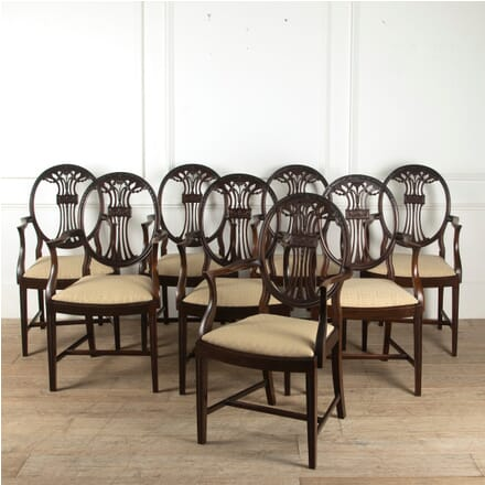 Set of Eight English Late 19th Century Mahogany Dining Chairs CD8811496