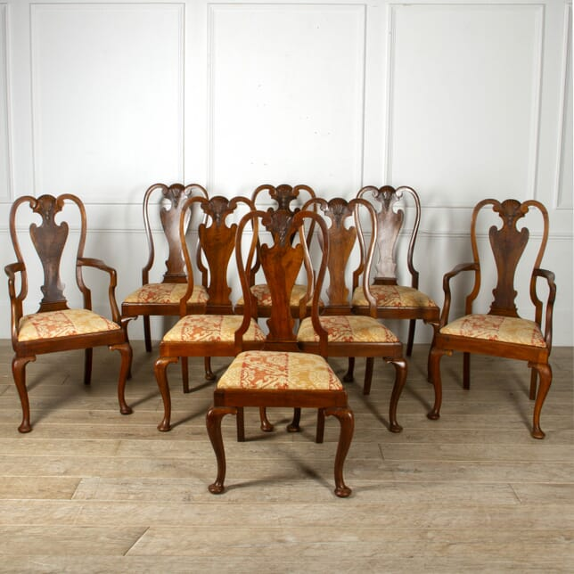 Set of Eight English Walnut Dining Chairs CD8817364
