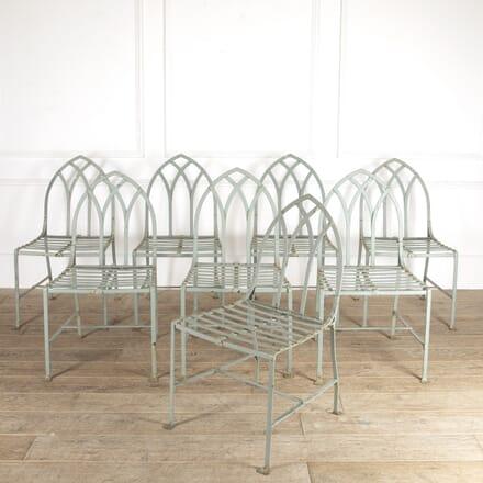 Set of Eight Gothic Iron Garden Chairs DA0914396