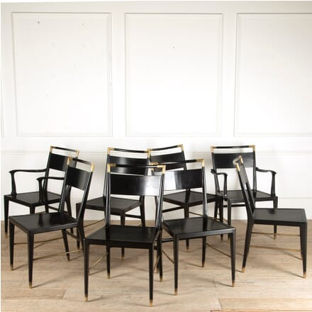 Set of Eight Italian Ebonized and Brass Chairs CD4511020