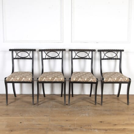 Set of Four Ebonised Sabre Leg Chairs CH1014348