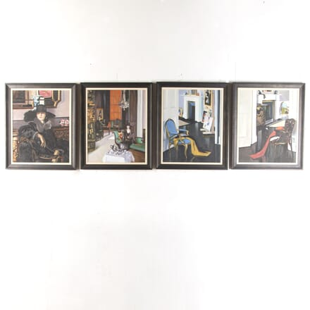 Set of Four Art Deco Oil on Canvas Paintings WD4016739