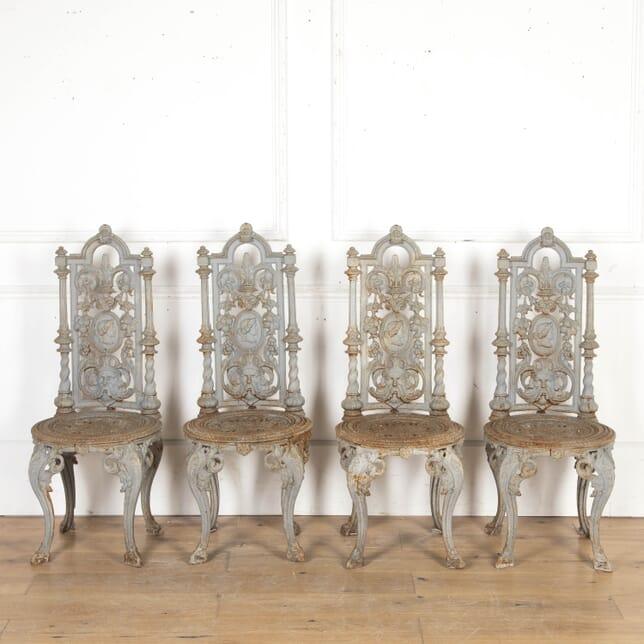 Four Decorative Victorian Cast Iron Chairs GA8716220