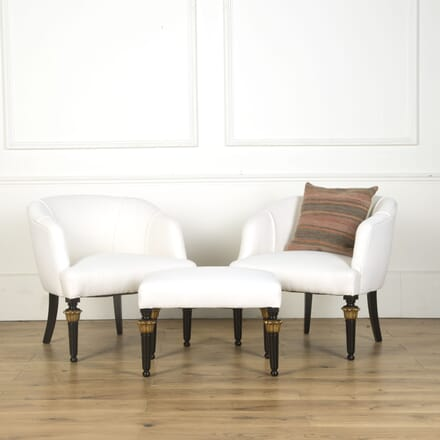 Set of Low Chairs and Footstool CH639648