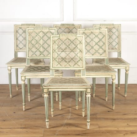 Set of Six French 19th Century Caned Dining Chairs CD2816388