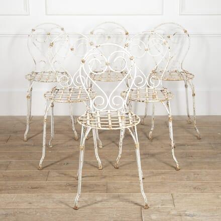 Set of Six French Iron Garden Chairs GA1516541