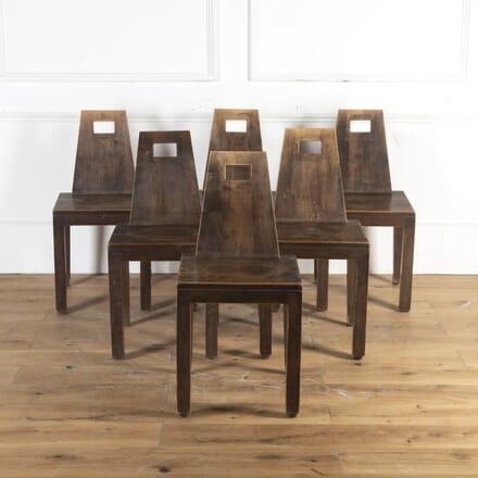 Set of Six English Oak Dining Chairs CD8914316