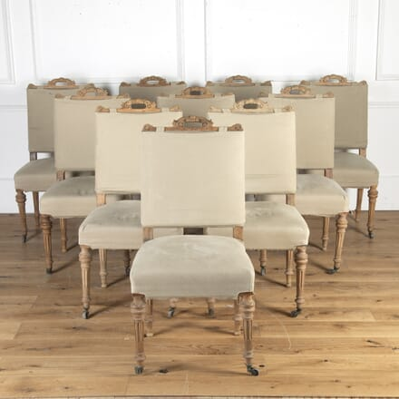 Set of Ten French Bleached Walnut Chairs CD2715592