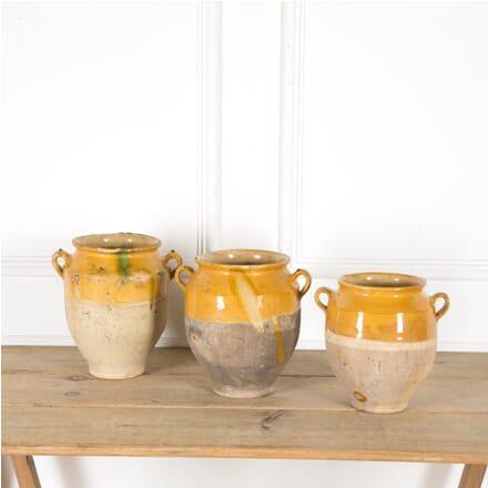 Set of Three Yellow Glazed Confit Pots DA1510039