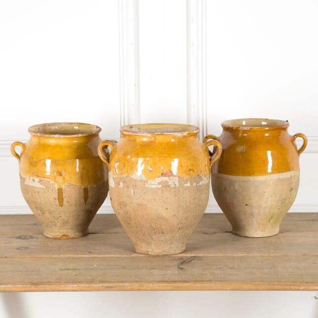 Set of Three Yellow Glazed Confit Pots DA1510041