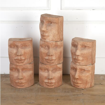 Seven Terracotta Facial Sculptures DA8914602