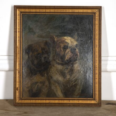 Signed French Oil Painting of Pugs WD1516566