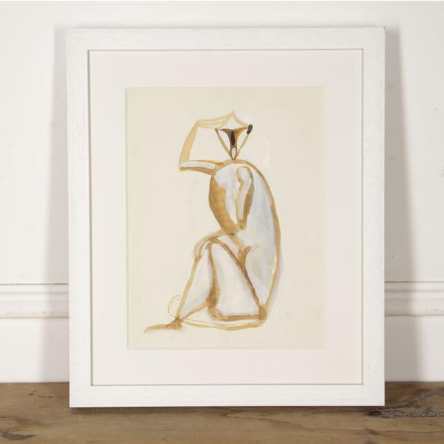 Sitting Macaque Gouache by Henri Samouilov WD2917463