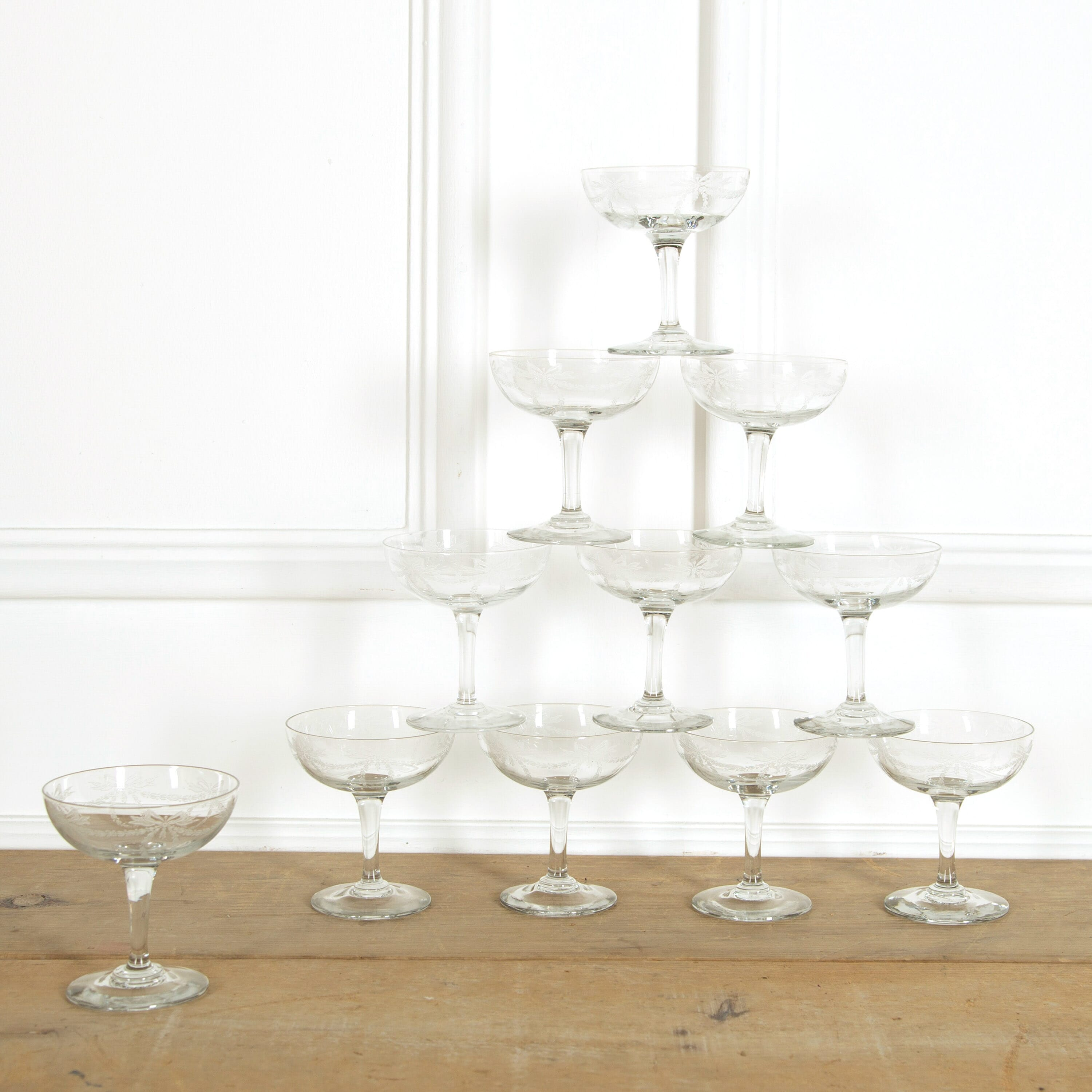 Ten Etched Champagne Coupes Lorfords Antiques
