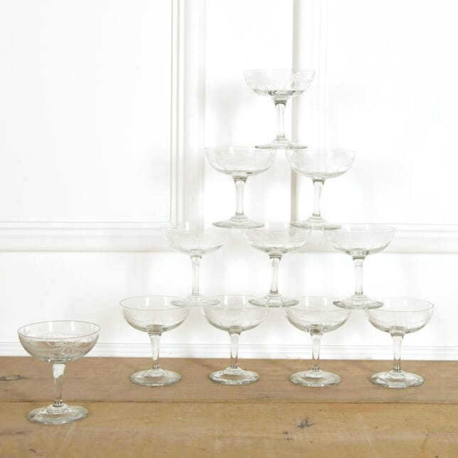 Ten Etched Champagne Coupes DA159095