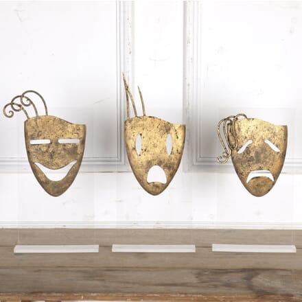 Three Spanish Gilt Metal Theatrical Masks DA3616433