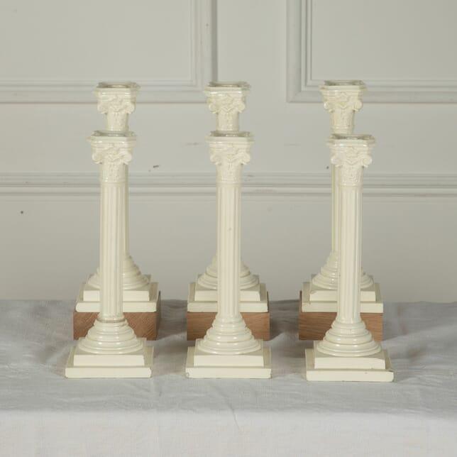 Three Pairs of 19th Century English Creamware Candlesticks DA7611528