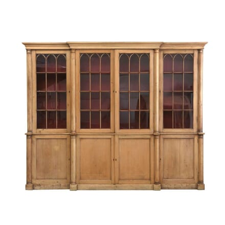 Early 19th Century Large Breakfront Pine Bookcase BK9210509