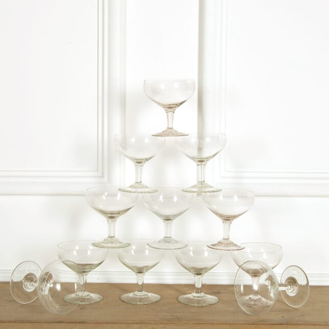 Twelve Etched Champagne Coupes DA159093