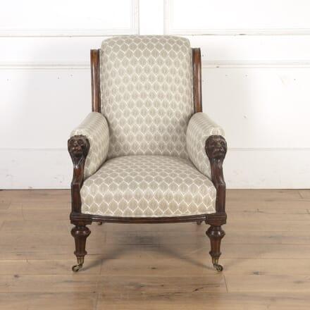 English 19th Century Lion's Head Armchair CH8016030