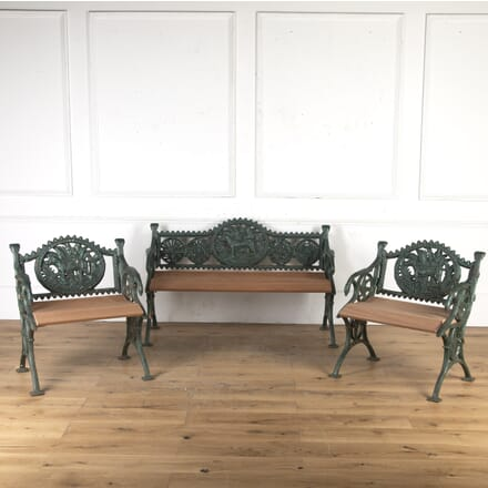 Victorian Cast Iron Bench and Chairs GA9015929