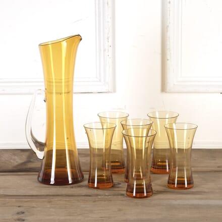 Whitefriars Amber Glass Jug and Tumblers DA5815472