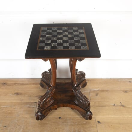 William IV Rosewood Games Table with Specimen Marble Top TC8113867