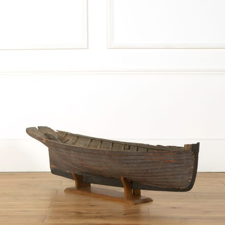 Wooden Clinker Boat Hull on Stand DA359028
