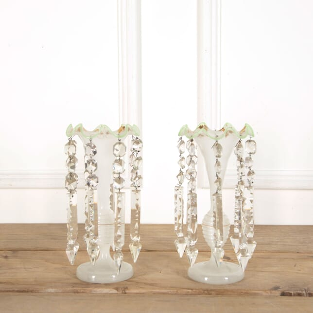 Pair of Victorian Milk Glass and Crystal Table Lustres DA5859862