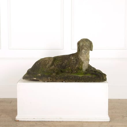 Early 19th Century Over Life Size Carved Stone Hound GA098867