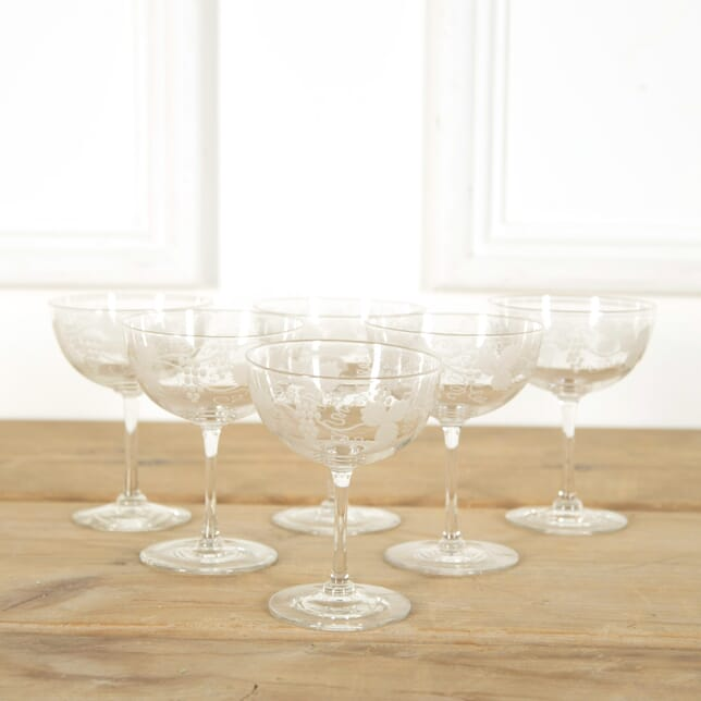 Edwardian Vine Etched Champagne or Cocktail Coupes DA588971