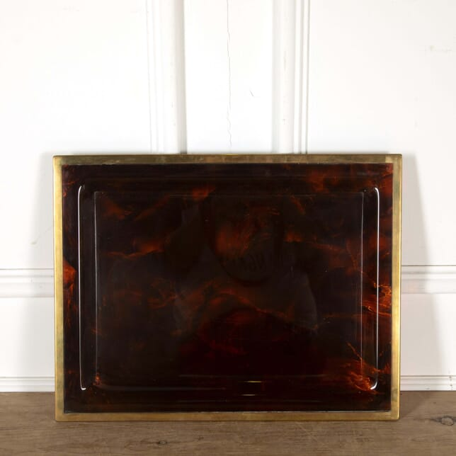 Faux Tortoise Shell Dior Style Tray with Brass Edging DA298599