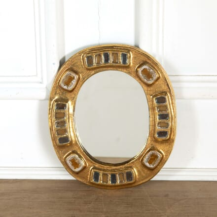 Francois Lembo Ceramic Mirror Gold and Amber Fused Glass MI298564