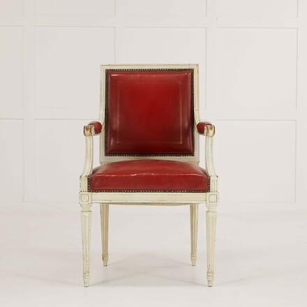 French 1950s Painted Red Leather Chair CH068476
