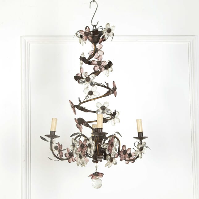 French Bronze and Glass Chandelier LC438389