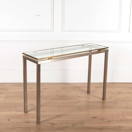 French Brushed Steel and Brass Console CO018418