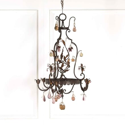 French Iron and Glass Fruit Chandelier LC018138