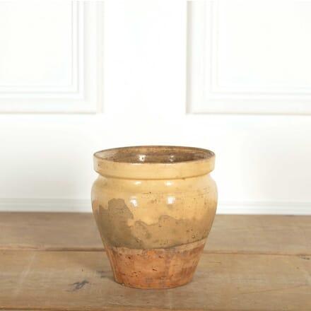 French Medium Barrel Shaped Yellow Glazed Jar DA448881