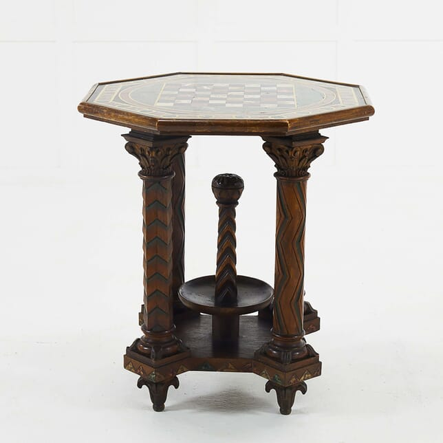 French Octagonal Oak Specimen Marble Top Table TC068472