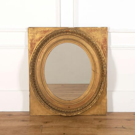 French Oval Gilt Mirror on Gilt Panel MI738781