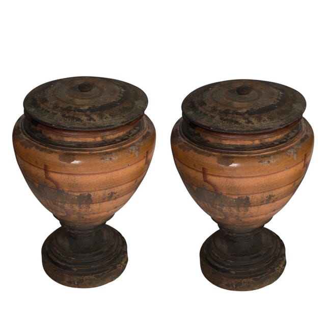 Pair of 19th Century Italian Terracotta Urns on Plinth Bases GA0154575