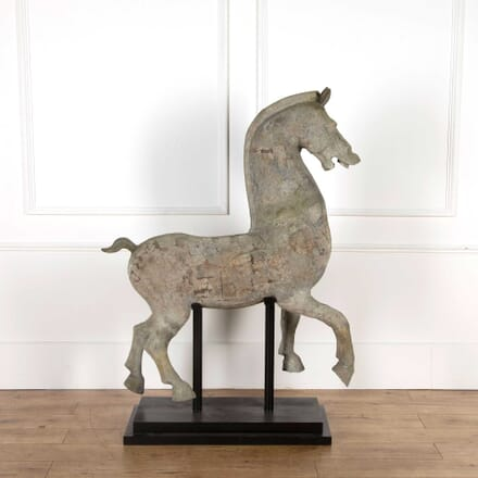 Large Terracotta Horse Sculpture on Stand GA128170